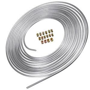 """25FT 3/16 """" Zinc Steel Brake Line Tubing Kit Coil Roll & SAE Tube Nut Fittings"""