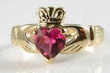 CLASSIC 9CT 9K GOLD PINK TOURMALINE CLADDAGH VINTAGE INS RING FREE RESIZE