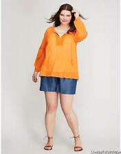 LANE BRYANT ~ NWT NEW! 14 16 ~ Sunny Orange CROCHET Trim ARTIST Top 1X