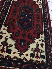 Salon Teppich orientalisch 138x68cm Alt Schön Brücke läufer rot  hochvetig Antik