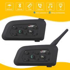 2x Bluetooth Motorcycle Intercom Helmet Headsets 1200M BT 6 Riders V6 Interphone