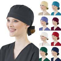 Women Men Unisex Blue Adjustable Bouffant Scrub Cap Nurse Dustproof Surgical Hat