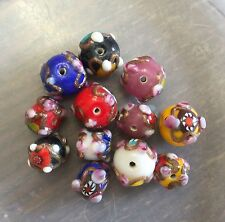 Vintage Sample Card Mix Color Size Applied Wedding Style Glass Art Bead Lot