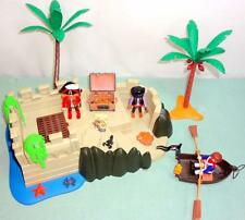 Playmobil LOT Pirate Cove 4007 Seaside Fort 3 Pirates Rowboat Treasure Chest