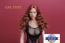 1/6 Scarlett Johansson 7.0 Black Widow Head Red Hair For Hot Toys USA IN STOCK