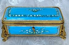 Antique Large French Box Nap. 3 Bronze and Enamel Lily 19ct