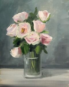 A4 Print of Original oil painting art floral pink  roses in glass vintage style