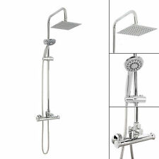 Bathroom Shower Mixer Modern Square Thermostatic Shower Valve Two Twin Head Set