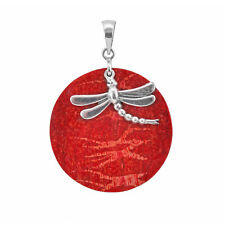 Bali DRAGONFLY Design RED CORAL Pendant in Sterling Silver 925 - 4.7 CM #N24