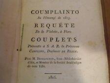 M DIOULOUFET  requête de la violette à flore langue d'oc duchesse de Berry  1816