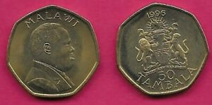 MALAWI 50 TAMBALA 1996 UNC ARMS WITH SUPPORTERS,BUST RIGHT