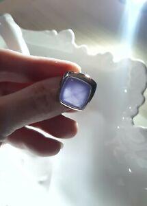 Impressive Modern Design Solid Sterling Silver & Amethyst Ring By Morellato