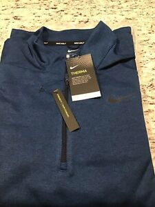 Men NWT Nike Golf Therma XL Standard Fit Half Zip Blue Pull Over Long Sleeves