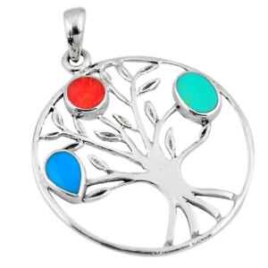 DAILY DEALS Fine Turquoise Coral Enamel 925 Silver Tree Of Life Pendant C13703