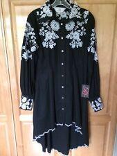 ROJA Women's Black Dress White Embroidered Size S NWT