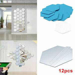 12X 3D Mirror Tiles Mosaic Wall Stickers Self Adhesive Bedroom Art Decal Home