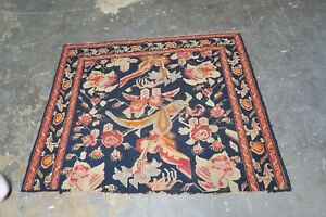 Antique Caucasian Russian Karabagh Hand Knotted Wool Rug Fragment 3'9 x 4'9