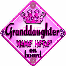 NEW PINK PRINCESS ~ JEWEL GRANDDAUGHTER ~ Baby on Board Car Window Sign