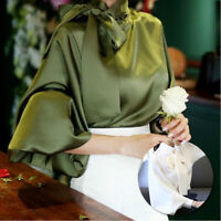 Spring Women Ladies Satin Lantern Sleeve Shirt Bow Tie Neck Blouse Tops Office