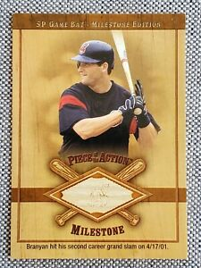 RUSSELL BRANYAN '01 Upper Deck SP Game Used GU Bat Piece of the Action Milestone