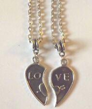 lot de 2 colliers argentés coeur LOVE séparé en 2