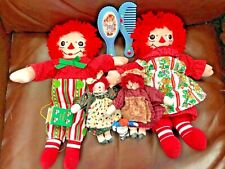 Lot of Raggedy Ann & Andy  Doll with Tags Pair of Christmas- 2 little ones etc.