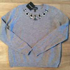 Magnifico pull maglia maglione TopShop grigio con strass NUOVO T. 38
