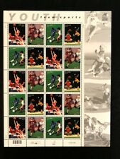 US 2000 Pane of 20 Stamps 33c Youth Sports Football Basketball Baseball Soccer