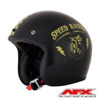CASQUE MOTO AFX JET VINTAGE 3/4 SPEED RACER BLACK GOLD BRILLANT0104-214