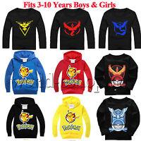 Kids Cartoon Pokemon Boy Girl Pullover Hoodire T-Shirt Sweatshirt Casual Tee Top