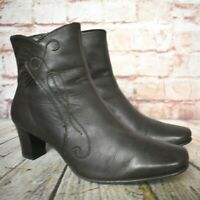 Womens K by Clarks Brown Leather Zip Up Mid Heel Ankle Boots UK 5 E EUR 38 WIDE