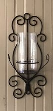 Vintage Brown Wrought Iron Wall Candleholder