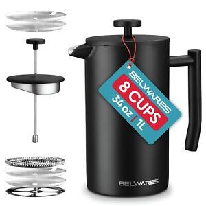 French Press Coffee Maker, Double Wall Stainless Steel with Extra Filters