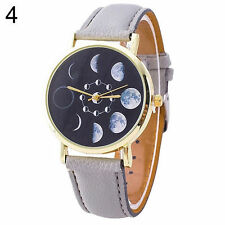Ladies Fashion  Quartz Black Face Grey  Band and Moon Phase Wrist Watch.