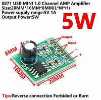 5V 1A 5W Mini Single Channel Digital Audio Amplifier Loudspeaker AMP Module DIY
