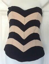 ASOS Top 6 Black Beige Striped Strapless Viscose Polyester Bustier 10 38
