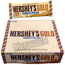 HERSHEY'S GOLD CARAMELIZED CREME PEANUTS & PRETZEL AMERICAN CHOCOLATE BARS BOX
