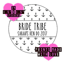 Bride tribe personalised stickers black anchor arrow 24 stickers hen do nautical