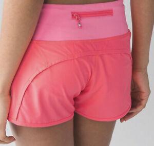 "Lululemon 6 Run Times Speed up shorts 4"" Inseam Flashlight Neon Pink Coral EUC"