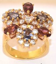 Ladies Sterling Silver Gold Plate Amethyst Garnet Cubic Zirconia Ring Size 5 3/4