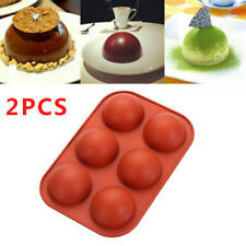 2Pcs 3D Half Ball Silicone Chocolate Muffin Mold Sphere Cake Candy Baking Mold