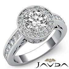 Round Diamond Halo Set Glistening Engagement Ring GIA G VS2 18k White Gold 2.3ct