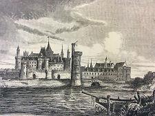 Paris Le vieux Louvre estampe de 1856 France