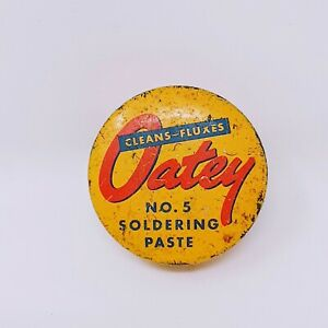 Vintage Oatey No. 5 Soldering Paste 1.7 oz. Advertising Tin Yellow Old Hardware
