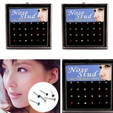 Wholesale 12Pair Body Jewelry Lots Nose Lip Bar Ring Studs Piercing Rhinestone