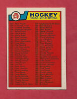 1983-84 OPC # 256 UNMARKED  CHECKLIST NRMT CARD
