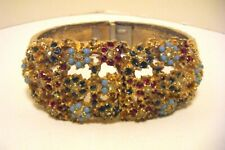 VINTAGE CLAMPER BRACELET WATCH W/RHINESTONES FAUX TURQUOISE 21 JEWELS WORKING