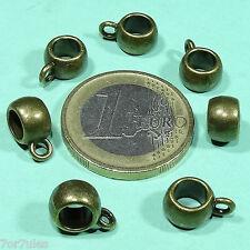 50 Enganches 11x8mm Para Cuero/Cordon T619 Cobre Bijouteria Caps Beads Copper