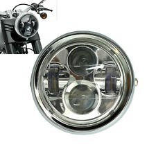 "6.5"" Projector Daymaker LED Headlight Chrome Metal For Cafe Racer Bobber Custom"