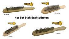 4 x Drahtbürste Set 3- 4- 5- 6-reihig Stahlbürsten Stahldrahtbürsten Grillbürste